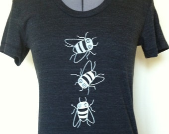Bees T Shirt Women Slim Fit Small through XLarge TriBlack
