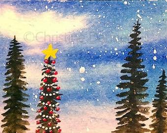 Original Art Christmas Tree & Pines ACEO Painting