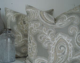 Both Sides-TAUPE / GREY/IVORY Paisley- Decorative Pillow Cover-Neutral  Throw and Lumbar Pillows.
