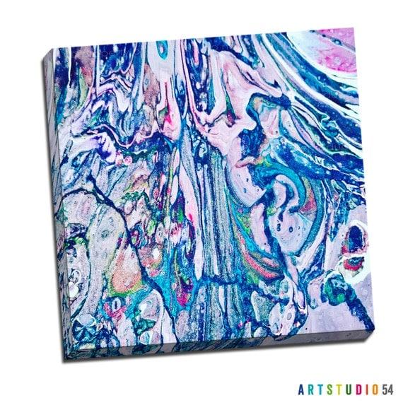 "Liquid Art #9 Abstract Art Canvas - 16""x20"" or 20""x20"" - 1-1/4"" Thick Bar Gallery Wrapped Canvas - Artstudio54 - Liquidart54"