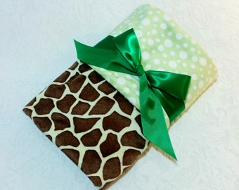 CLEARANCE SALE - NOW just 20 dollars - Ready to Ship -Minky Baby Blanket-Green/Brown Giraffe with Light Green Bubble  Dot Minky - Crib  Size