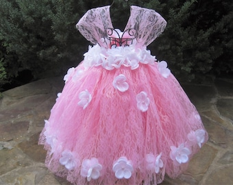 PINK LACE and FLOWERS. Pink Tutu Dress. Flower Girl Gown.  Birthday Tutu Dress, Pageant Tutu Dress.  Christening Gown.  Baby Gifts.