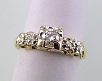 A Fancy 1940's Era Diamond Engagement Ring, 14k Yellow and White Gold (A1621)