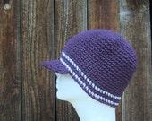 wool visor beanie/ royal purple stripe crochet- custom order