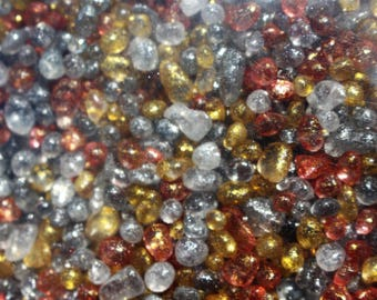 Glittered glass pebbles-Over 1 pound or 2 cup bags-4 colors to choose from-Orange-Grey-Clear-Golden yellow-Wedding vase fillers
