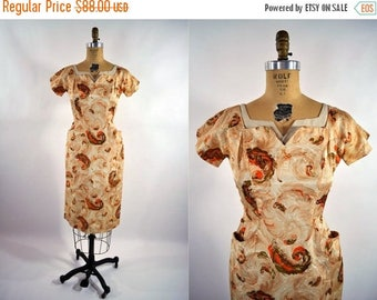 50% OFF SALE // 1950s dress vintage 50s brown novelty feather print wiggle dress XS