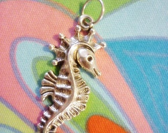 Silver Seahorse Pendant,Stamped Seahorse Pendant Charm