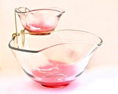 SALE 30% OFF  Mid Century Party Bowl - Glass Chip and Dip Bowl - Red Chip and Dip