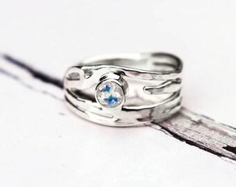 Rainbow Moonstone Ring, Sterling Silver Moonstone Organic Design Ring, Recycled Silver Ring, June Birthstone, Elementisle
