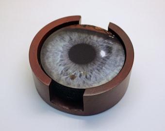 Eye Ball Coaster Set of 5 with Wood Holder