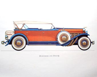 Duesenberg 1929 (Type SJ) Car Collector Lithograph Print