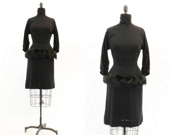 50s Dress Lilli Diamond Small / 1950s Vintage Dress Fur Trim  / Smokey Haze Wiggle Dress