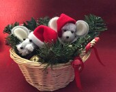 Two Felt Santa Mice in Christmas Basket  soft sculpture
