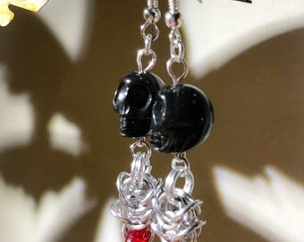 Black Skull Red Glass Disc and Silver Chainmaille Dangle Earrings