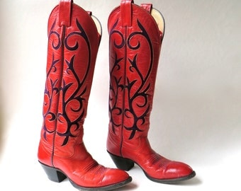 Larry Mahan vintage Red Leather Cowboy Boots with Purple Suede Inlay / Handcrafted in El Paso, Texas / Cowgirl Western Rodeo Southwestern