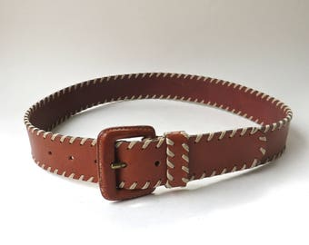 Lands' End vintage Whipstitched Honey Brown Leather Belt / Made in Turkey