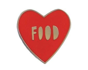 """Food Heart - 1"""" hard enamel pin - I love food - SKU PIN-710"""