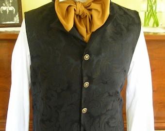 """Men's Regency Styling High Collar Black Brocade Lapel Vest Waistcoat 36"""". (V10) FREE SHIPPING!!"""