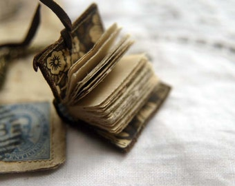 The Petite Poet - Mini Wearable Book, Dark Brown Recycled Leather, Aged Paper - OOAK