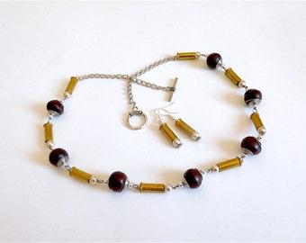 Upcycled Steampunk Boho Bullet Shell Necklace & Earring Set (Item Z 47)