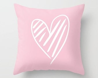 """The Scribbled Heart Pillow 18"""" Pillow Cover 