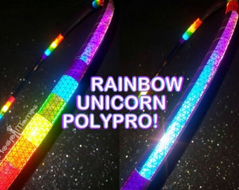 "NeW! - Rainbow UNICORN 'NiteBrite' Reflective Hoop!  //  3/4"" or 5/8"" OD Polypro.  Free Grip Options! A Hoop Mamas ORIGINAL!"