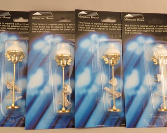 Dollhouse Miniature Lot of 4 Gold Victorian Floor Lamps