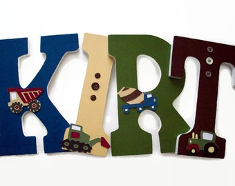 Letters For Kids - Nursery Wood Letters - Boys Construction Trucks Nursery Decor - Trucks Wall Letters - Boys Construction Decorative Letter
