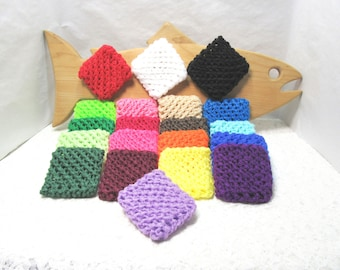 Pot Scrubbers, square scour pads, scratch resistant, nylon net, kitchen, bath cleaning aid, tough scrubbers. Please pick colors from list.