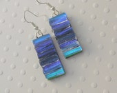Blue Earrings - Dichroic Fused Glass Earrings - Bohemian Earrings - Boho - Dichroic Earrings - Dichroic Jewelry - Cute Earrings X3674