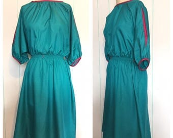 80s Teal Dress with Pink Accents  size 8