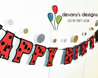 Ladybugs Birthday Banner, Lady Bug Birthday Banner, Ladybug Birthday Party Decor, Ladybug Party Supplies, Ladybug HAPPY BIRTHDAY Banner