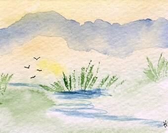 Original Watercolor ACEO Art Card, Misty Marsh, Lake, Mountains, OOAK