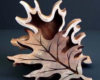Oak Leaf Wood Box