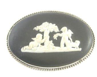 Brooch, Pin, Sterling Silver, Wedgwood, Sterling Brooch, Vintage Cupid Pin, Silver Cherub Jewelry