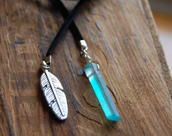 Black Suede Cord Bolo Wraparound Bolo Choker Necklace with Blue Aura Crystal Quartz Point and Silver Feather Charm