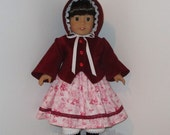 Pink and Burgundy Civil War Jacket, Hat, Dress, and Pantaloons, Fits 18 Inch American Girl Dolls