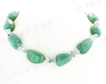 Aventurine And Fluorite 925 Sterling Silver Necklace