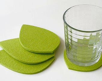 Greenery Botanical Leaf Drink Coasters 5mm Thick Merino Wool Felt Green Leaves Spring Coaster Set  Unique Tabletop Home Decor Gift for her