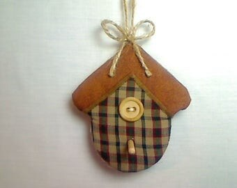 Fall Plaid Birdhouse Ornament | Fall Decor | Folk Art | Party Favor | Holidays | Thanksgiving | Tree Ornament | Handmade Gift| #1