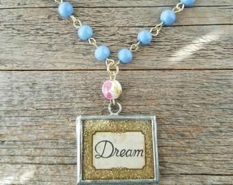 Handmade necklace, rosary linked jewelry, periwinkle jewelry, blue jewelry, purple jewelry, soldered charm, wish, dream, word jewelry, chain