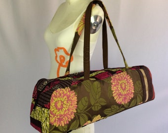 Yoga bag, brown and pink patchwork