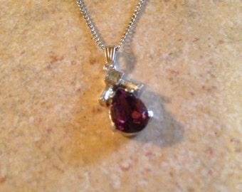 Silvertone Amethyst Drop Pendant Necklace