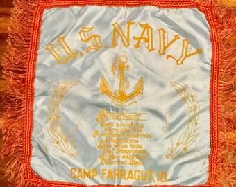 Souvenir Pillow Sham, U S Navy, Camp Farragut Idaho, Sweetheart