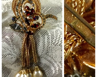 Stunning Austrian Signed Rhinestone and Faux Pearl Dangling Brooch PL