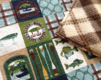"""Baby Boy Blanket, Flannel and Fleece 28x36"""", Fishing, ready to ship"""