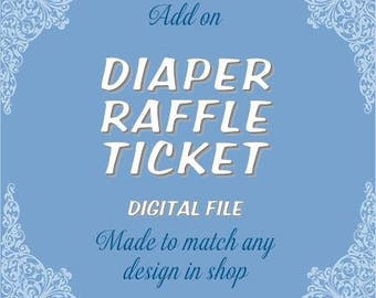 Matching Diaper Raffle Ticket - ADD ON SERVICE for any baby shower invitation listed in the shop