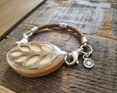 Bellabeat Leaf Bracelet Accessory Southwest Cowgirl up with thick leather 925 Sterling silver accents