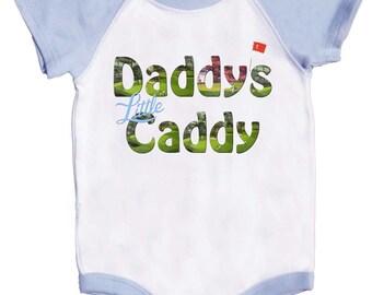 Boy Golf Bodysuit Blue Raglan Sleeve Rompers Daddys Caddy Boy Golfing Tee's  by Mumsy Goose