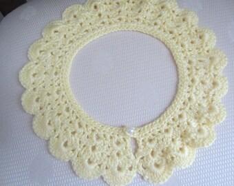Soft Yellow Crochet Detachable Lace Collar